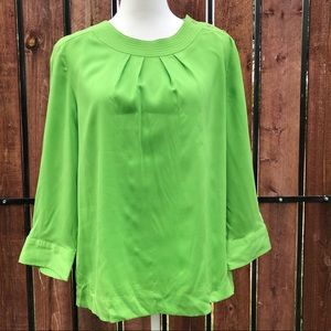 Talbots Blouse Scoop pleated neck Green 16 career